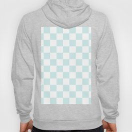 Checkered - White and Light Cyan Hoody