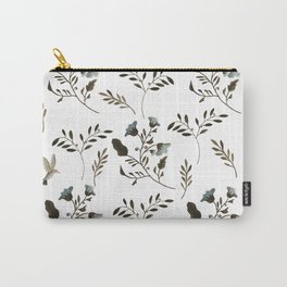 Bluebells and Bluebirds Floral Pattern Flowers in Blue and Bark Brown Carry-All Pouch