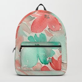Aqua and Coral Floral Mix - Watercolor Abstract Art Backpack