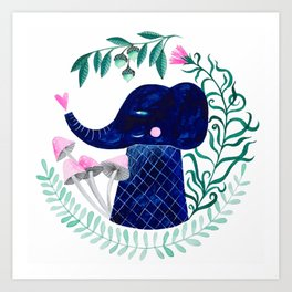 blue elephant watercolor illustration Art Print