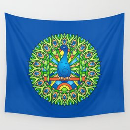 Peacock Mandala Blue Background Wall Tapestry