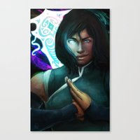 the legend of korra Canvas Prints featuring Korra by Nicole M Ales