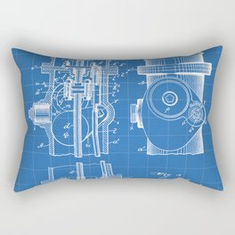 Fire Fighter Patent - Fire Hydrant Art - Blueprint Rectangular Pillow