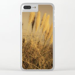 Ears of wheat by the sea in sepia effect Clear iPhone Case