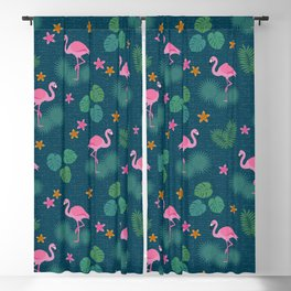 Bohemian nonchalance tropical flamingo pattern on dark background Blackout Curtain
