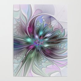 Colorful Fantasy Abstract Modern Fractal Flower Poster