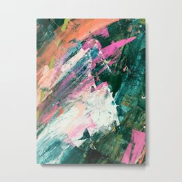 Meditate [5]: a vibrant, colorful abstract piece in bright green, teal, pink, orange, and white Metal Print