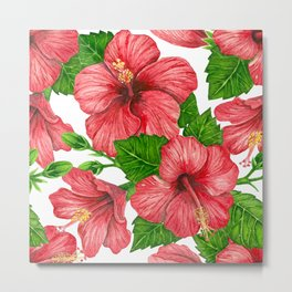 Red hibiscus watercolor pattern Metal Print
