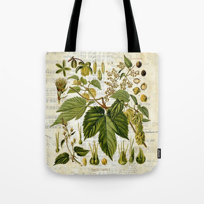Common Hop Botanical Print on Vintage almanac collage Tote Bag