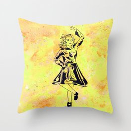 Imbolc  (traditional Irish step dancer celebrating Brigid and the festival of light) Throw Pillow
