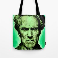 clint eastwood Tote Bags featuring Clint Eastwood by Jason Hughes