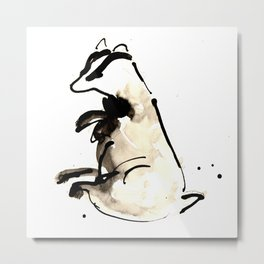 Sitting Badger Metal Print