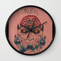 cthulhu Wall Clocks featuring Cthulhu by Zack Traum