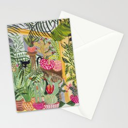 Black cat in the Garden Stationery Cards