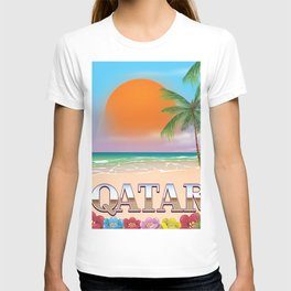 Qatar beach travel poster T-shirt