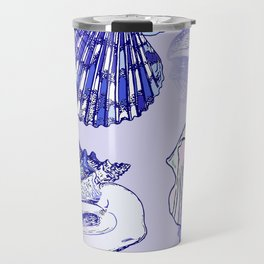 Seashells Beach Pattern Blue Travel Mug