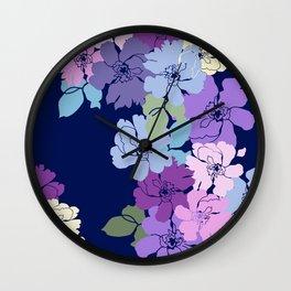 Blue Poppy Toss Wall Clock