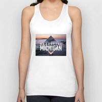 postcard Tank Tops featuring Marquette Postcard by ztwede