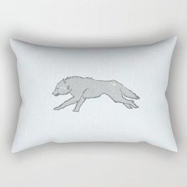 Gray Direwolf on Ice White field Rectangular Pillow