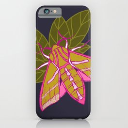 Nature moth - elephant hawk moth with leaves iPhone Case
