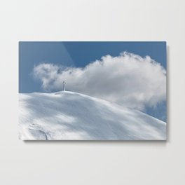 The cross of Monte Catria snow covered, Italy Metal Print