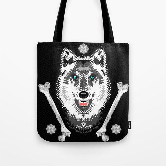 Silver Wolf Geometric Tote Bag