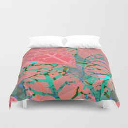 Coral Palm Shadows Duvet Cover