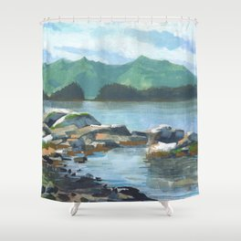 SITKA SOUND 04, Sitka Travel Sketch by Frank-Joseph Shower Curtain