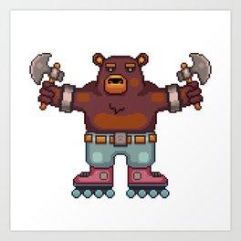Travis the Bear Pixel Art Art Print