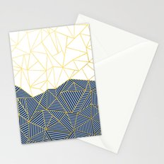 Ab Half and Half Navy Gold Stationery Cards