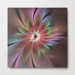 Abstract Fantasy Flower, Fractal Art Metal Print