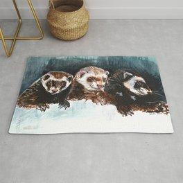 Three Sleepy Ferrets Rug