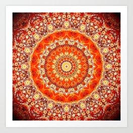 Orange Mandala Bohemian Decor Art Print