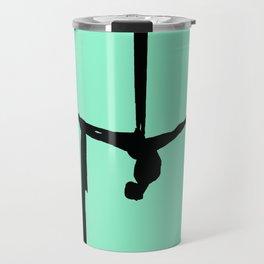 Aerial Silk Silhouette on Mint Travel Mug
