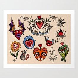 hearts and more hearts Art Print