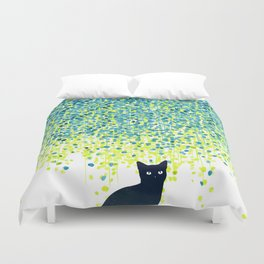 Cat in the garden under willow tree Duvet Cover