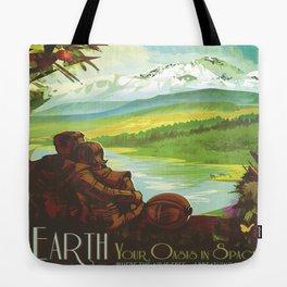 Earth Retro Space Poster Tote Bag