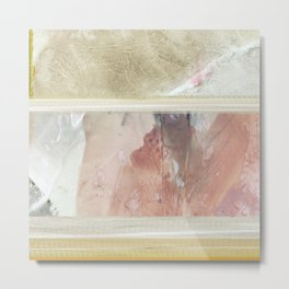 Fragments 18 abstract pink and yellow stripe painting Metal Print