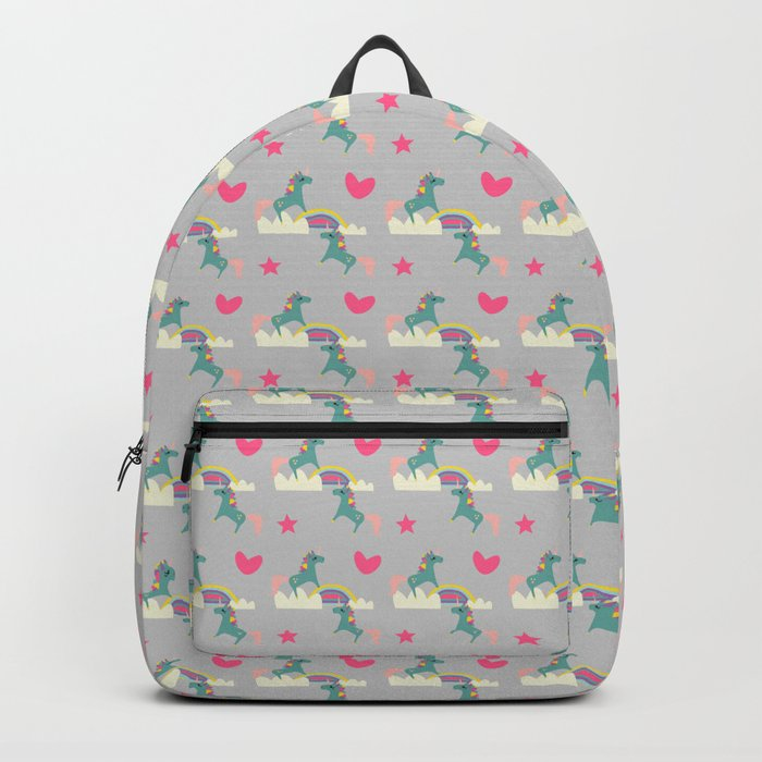 unicorn and rainbow gray Backpack