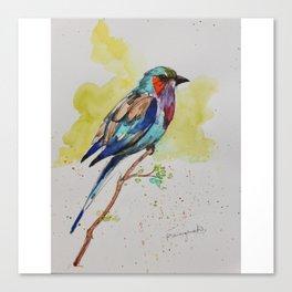 Lilac Bird - in watercolor Canvas Print
