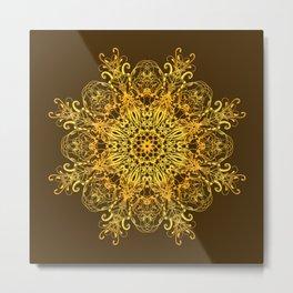 Ethnic floral golden mandala. Metal Print