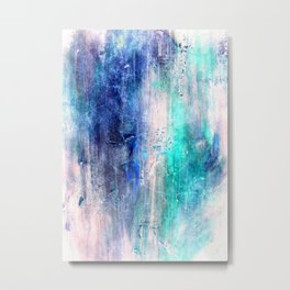 Winter Abstract Acrylic Textured Painting Metal Print