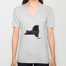 New York Black Map Unisex V-Neck