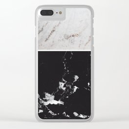 White Glitter Marble & Black Marble #1 #decor #art #society6 Clear iPhone Case