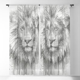 Lion Watercolor Sheer Curtain