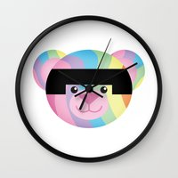 bondage Wall Clocks featuring Classic Rainbow Bondage Bear by YOSH FRIDAY