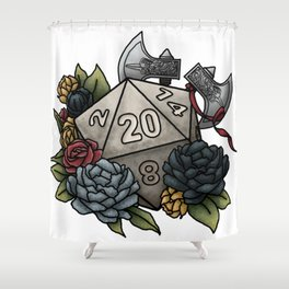 Barbarian Class D20 - Tabletop Gaming Dice Shower Curtain