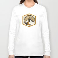 trout Long Sleeve T-shirts featuring Trout Jumping Cartoon Shield by patrimonio