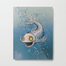 Silvery Fishy Metal Print