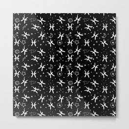 Black And White Pisces zodiac hand drawn pattern Metal Print